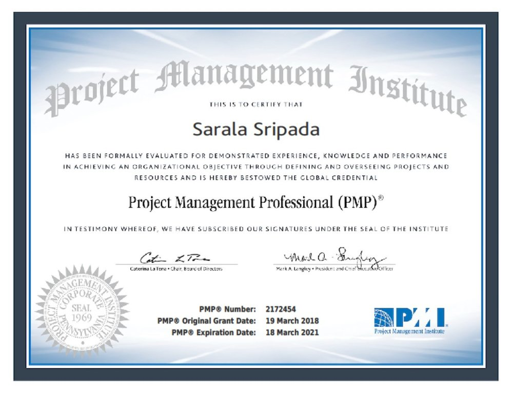 Congratulations, Sarala Sripada for successful completion of PMP credential with above target in the first attempt.