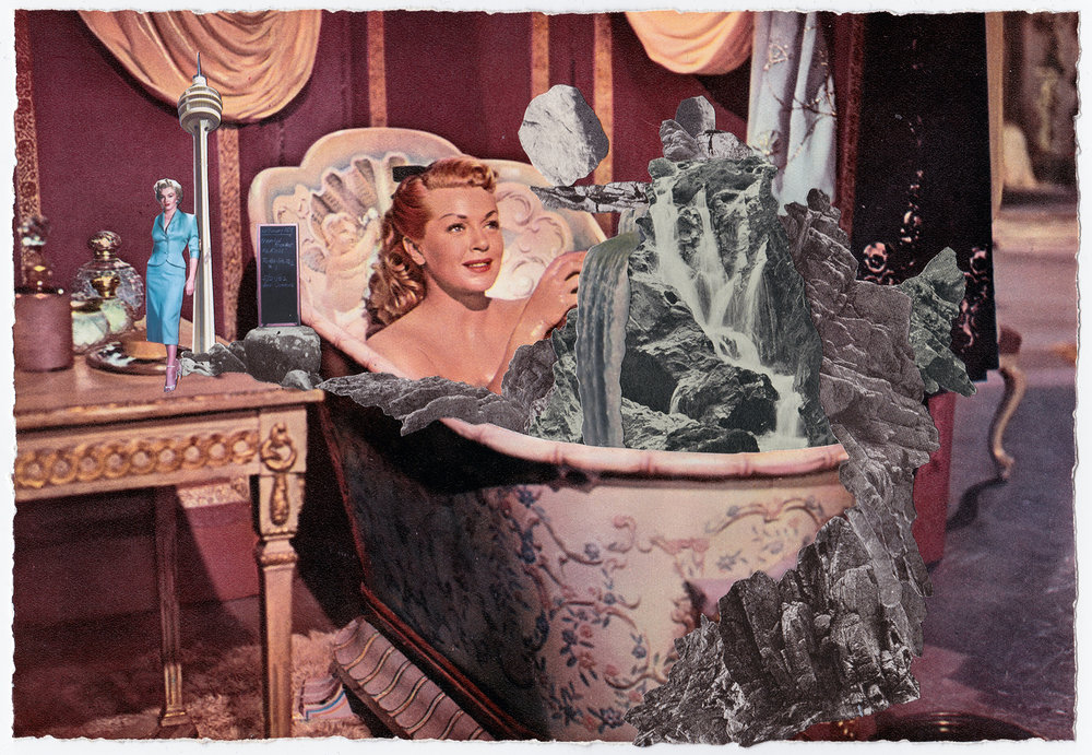 The Best Ideas Always come at Bathtime   Original Collage, Vintage Magazine Page 39 x 34cm Sold