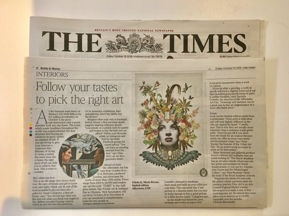 Frieda featured in The Times October 19 2018