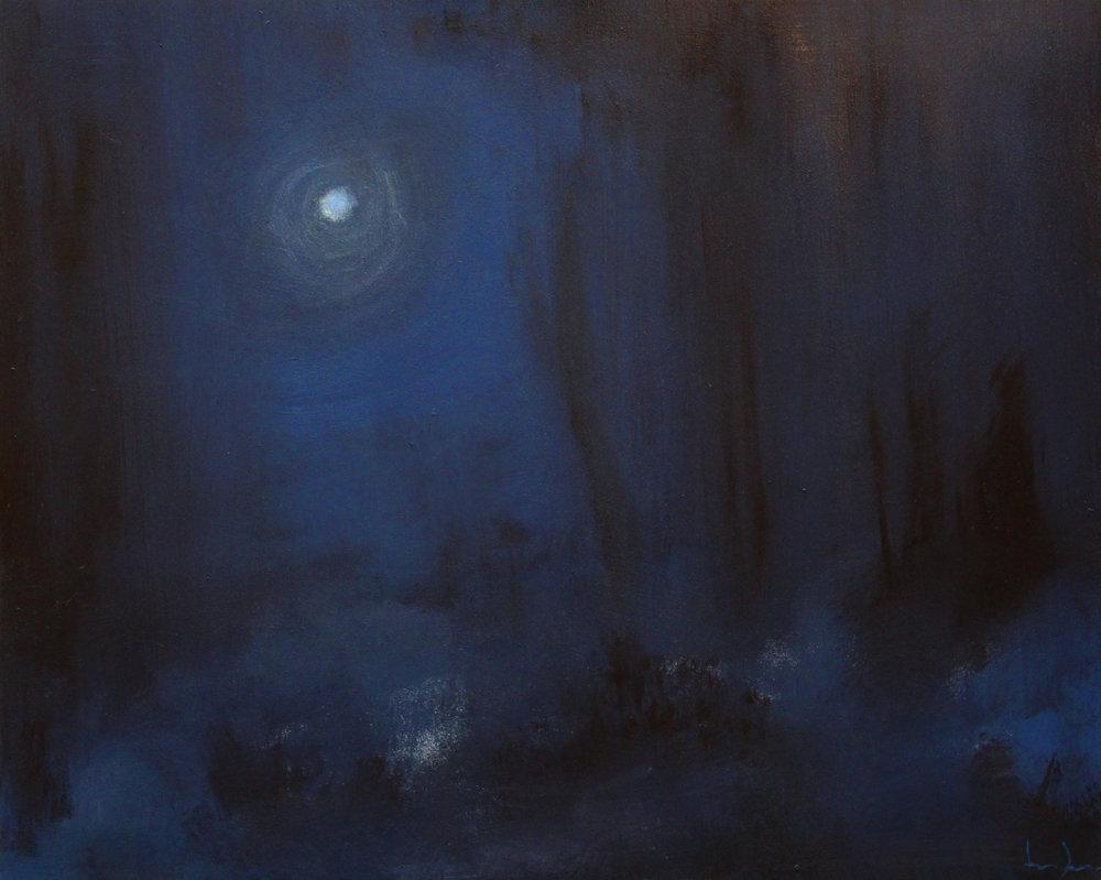 Moonrise Study. Oil on panel, 2017.