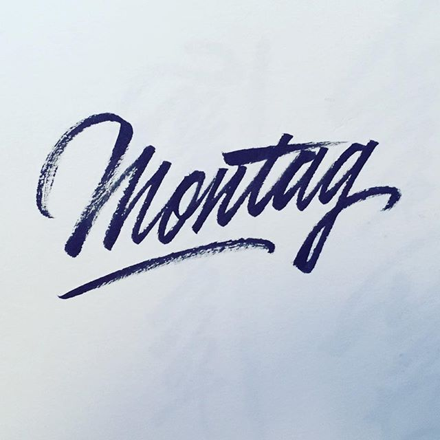 It's been one year since we moved to 🇩🇪 and I barely know any German words. I tought it might be cool to practice this new and mysterious language in my daily sketches. Here's Monday ✌🏻 . . . #lettering #brushlettering #type #calligraphy #brushcalligraphy #berlin #germany #learininggerman #german #practice #duolingo #memrize #foreign #deutschlernen #deutschland #montag #monday #mondaymotivation #dailytype