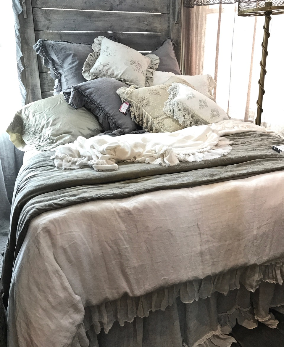 Bed with cushions