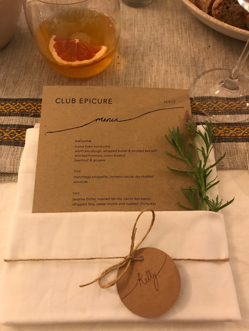 Attention to detail at ClubEpicure extended to handwritten place settings