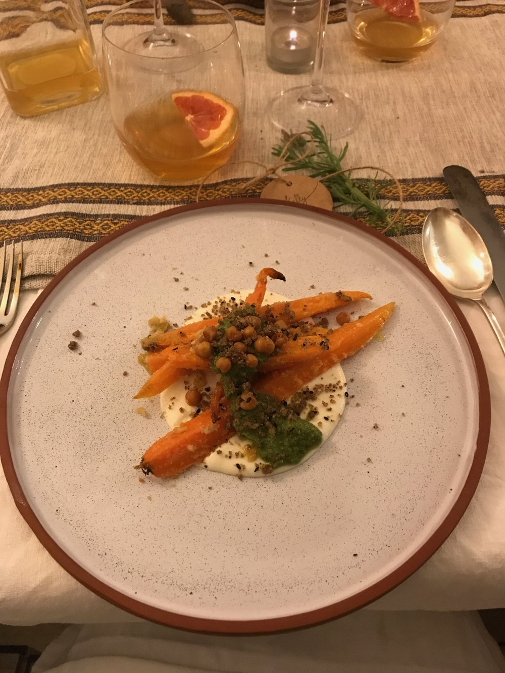 Roasted carrots and chickpeas with whipped feta