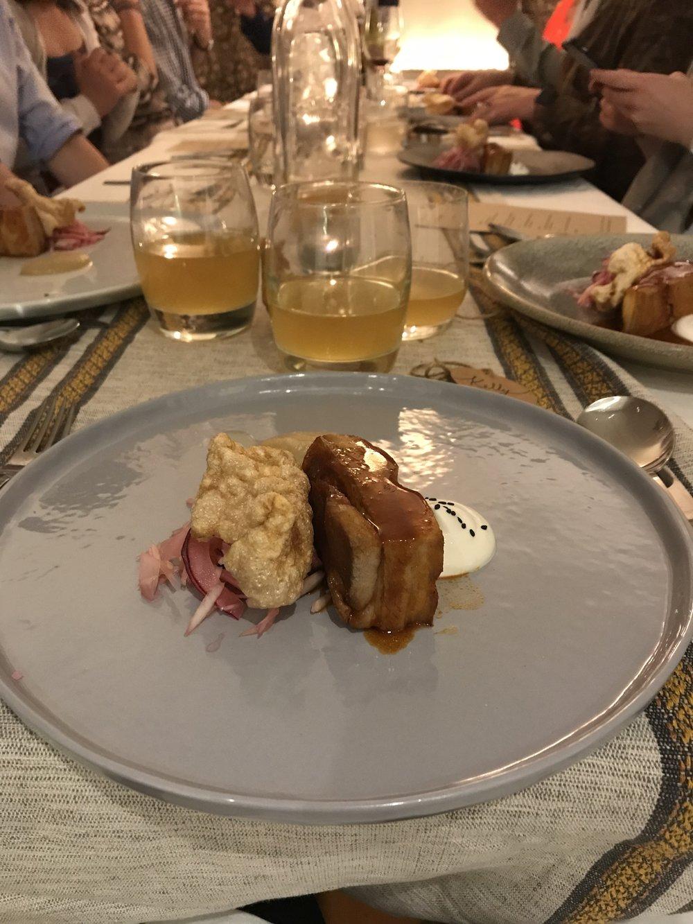 Gochujang pork, fennel and lime slaw, sesame yogurt, smoked onion, chicharron