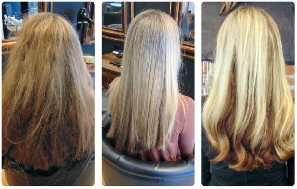As if it wasn't obvious: Picture 1 shows my hair in it's natural state. Picture 2 shows it after the nano keratin has been applied and the hair straightened. Picture 3 shows my hair after its first wash and blow dry at the salon.
