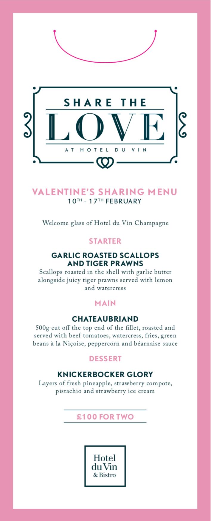 Hotel du Vin Winchester Valentine's Day dinner