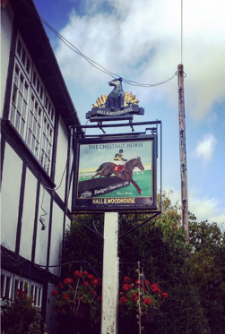 Traditional pub sign at The Chestnut Horse, Easton