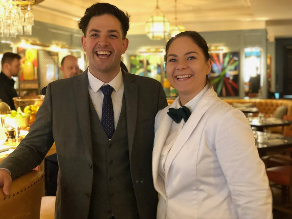 Barnaby, assistant general manager of The Ivy Winchester Brasserie with one of his staff members