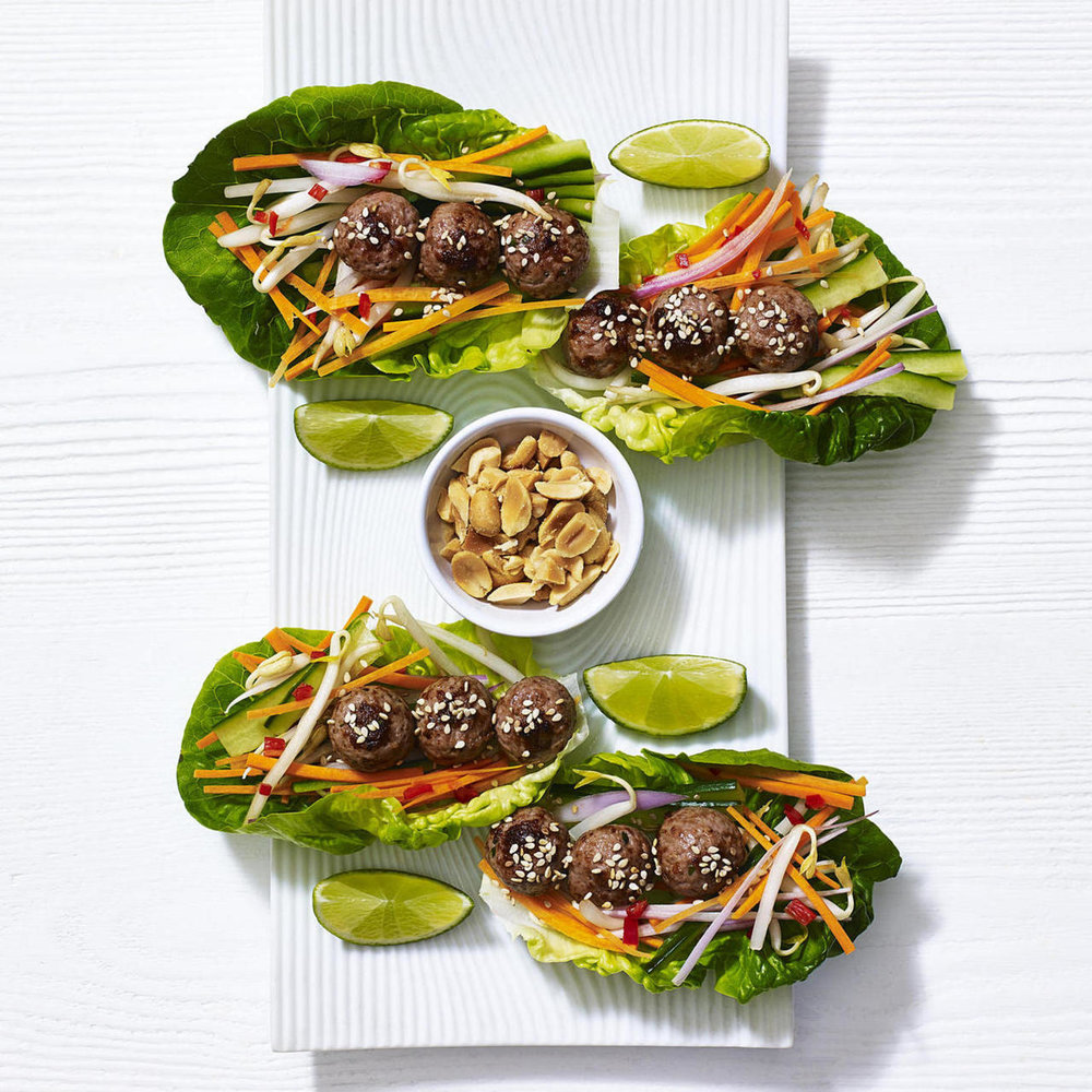 Vietnamese lettuce cups with skinny beef meatballs