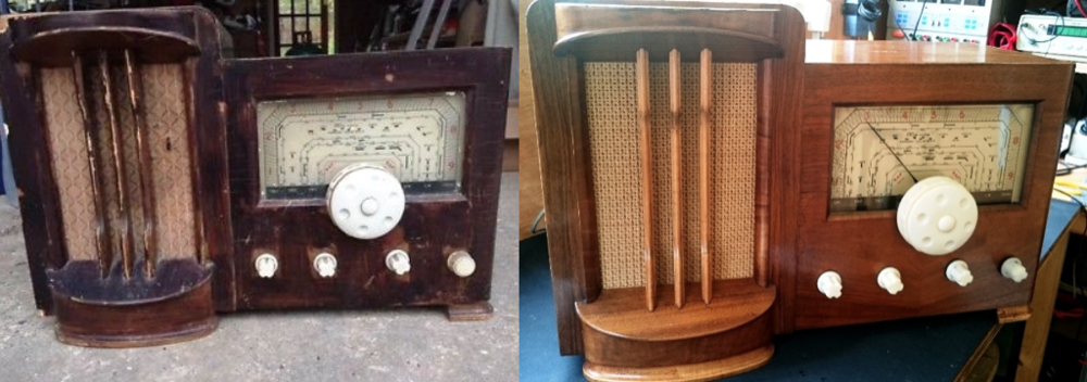Photos show the RAP 646 radio before and after Peter's care and attention.