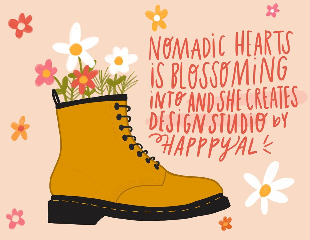 nomadic hearts is blossoming into and she creates design studio