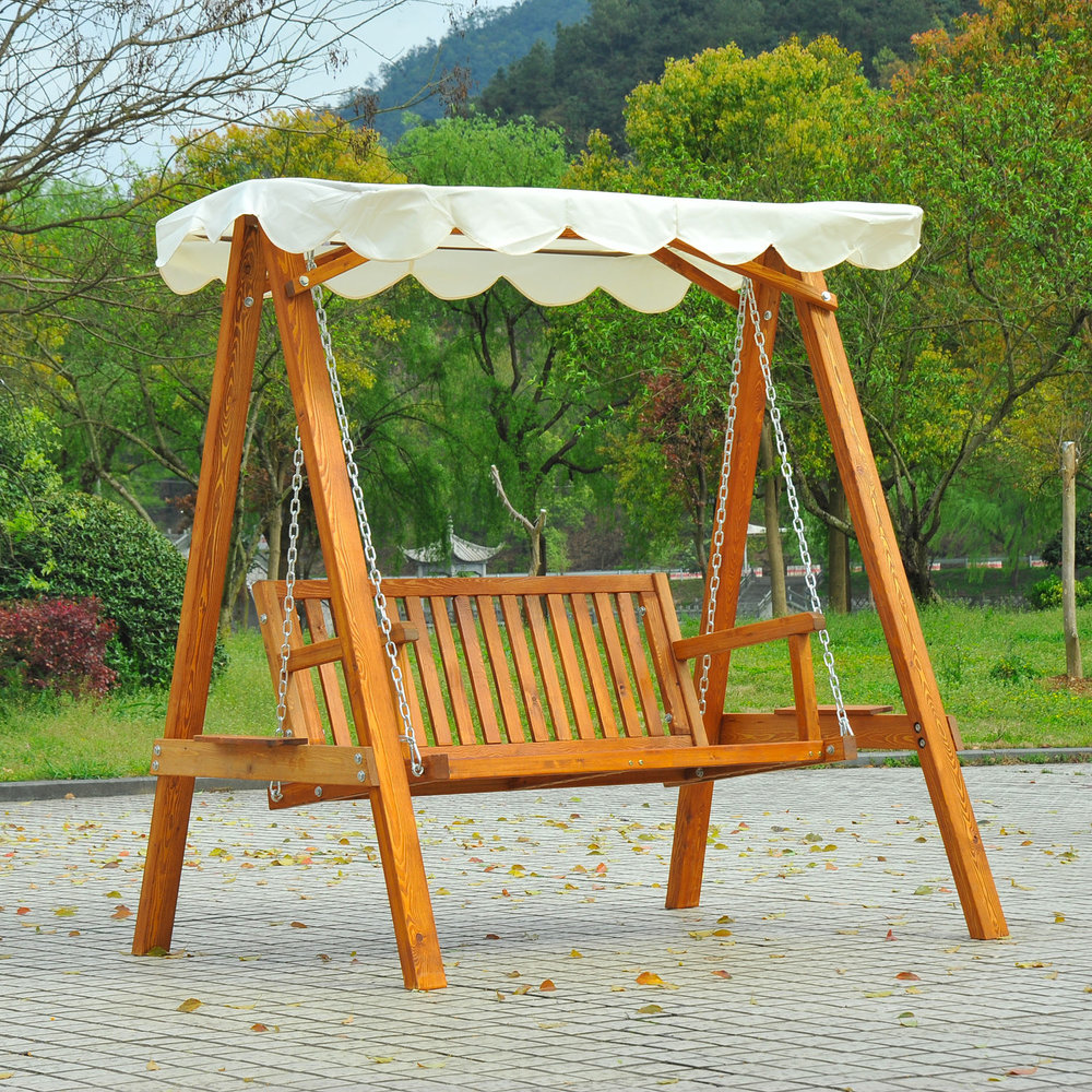Outsunny 2 Seater Wood Garden Chair Swing Bench Lounger Cream Mh Star