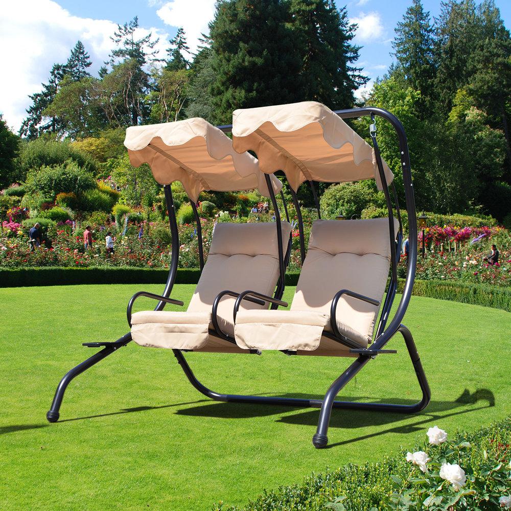 Outsunny Garden Swing Chair 2 Seater Swing Hammock Beige Mh Star
