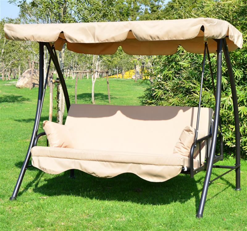 Outsunny 3 Seater Swing Chair Bench Seat Beige Mh Star