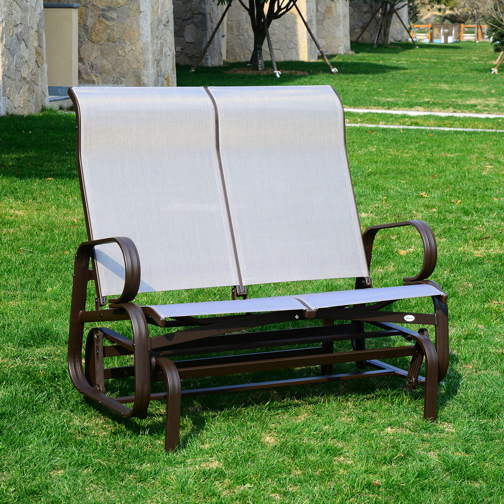 Picture of: Outsunny 2 Seat Patio Glider Bench Brown Beige Mh Star