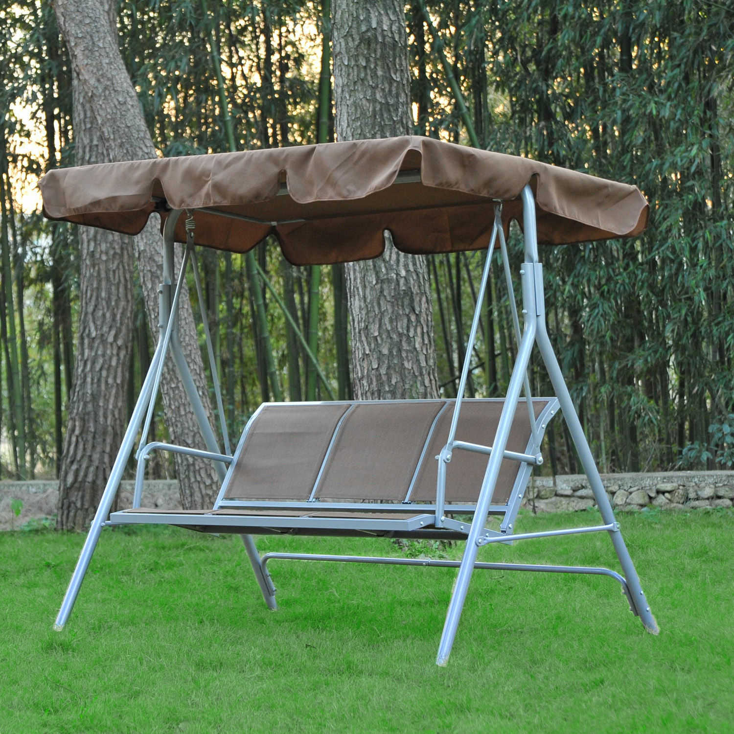 Outsunny 170l X 110w X 153h Cm 3 Seater Swing Chair Brown Mh Star