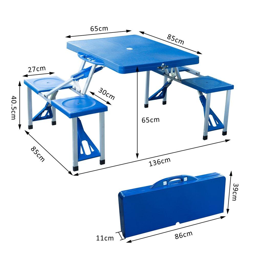 Outsunny Portable Picnic Table W/ Bench Set Blue