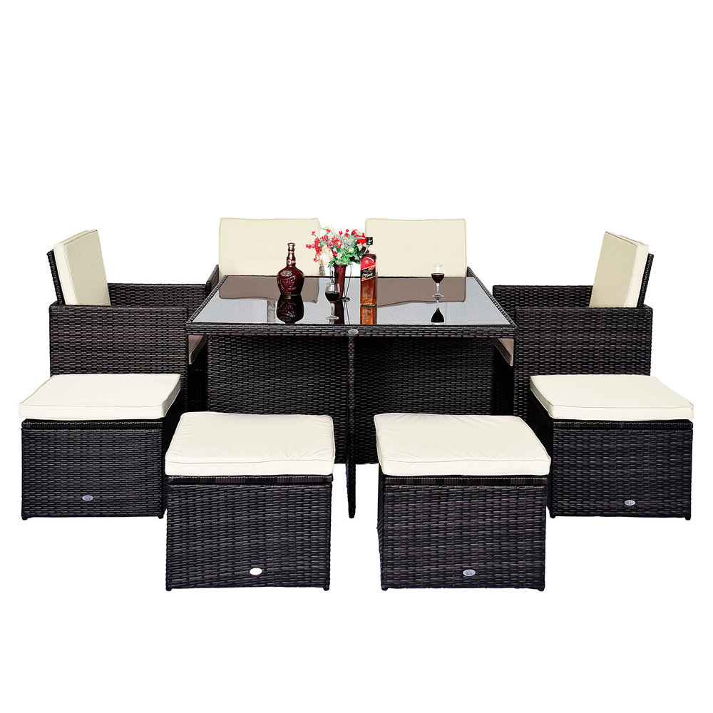 Outsunny 9 pc rattan furniture set brown mh star