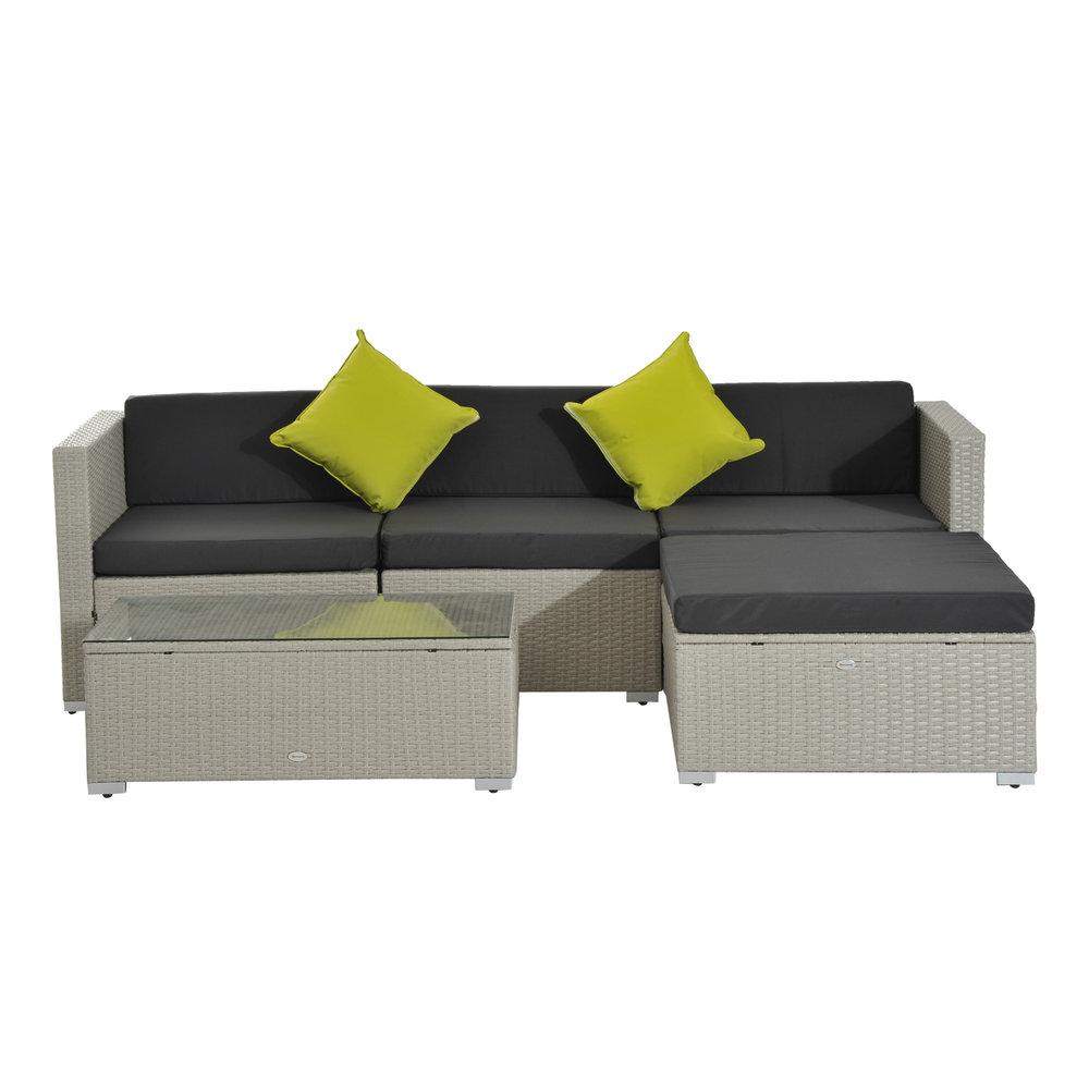 Outsunny 5pc Wicker Furniture Rattan Sofa Set Grey Mh Star