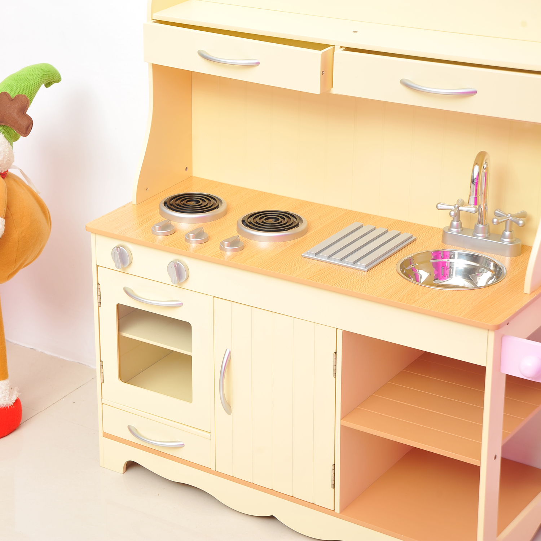 2770f751acc0 HOMCOM Kids Wooden Play Kitchen Set-Yellow — MH Star