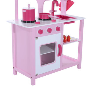 Homcom Kids Wooden Play Kitchen Set Pink Mh Star