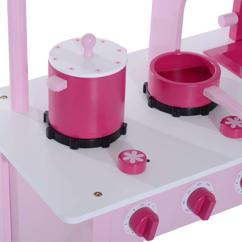 d1641019e5c8 HOMCOM Kids Wooden Play Kitchen Set-Pink — MH Star