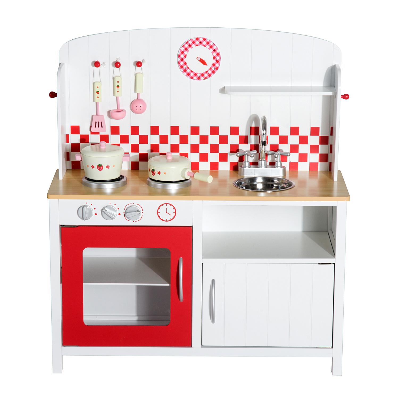 082f9ca2a04f HOMCOM Kids Kitchen Role Play Set -White/Red — MH Star