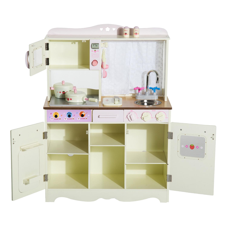 553b201c61ea HOMCOM Kids Kitchen Role Play Set-White — MH Star