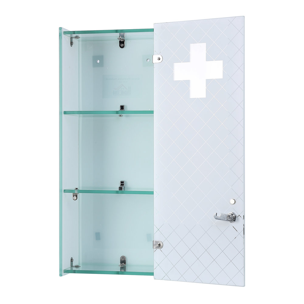 HOMCOM Medicine Cabinet, 60Lx25Wx12.5T cm-Stainless steel/Glass — MH ...