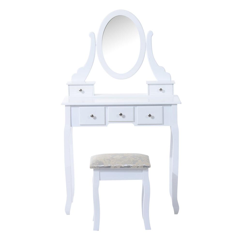 Homcom 5 Drawers Dressing Table Set W Mirror Stool White Mh Star