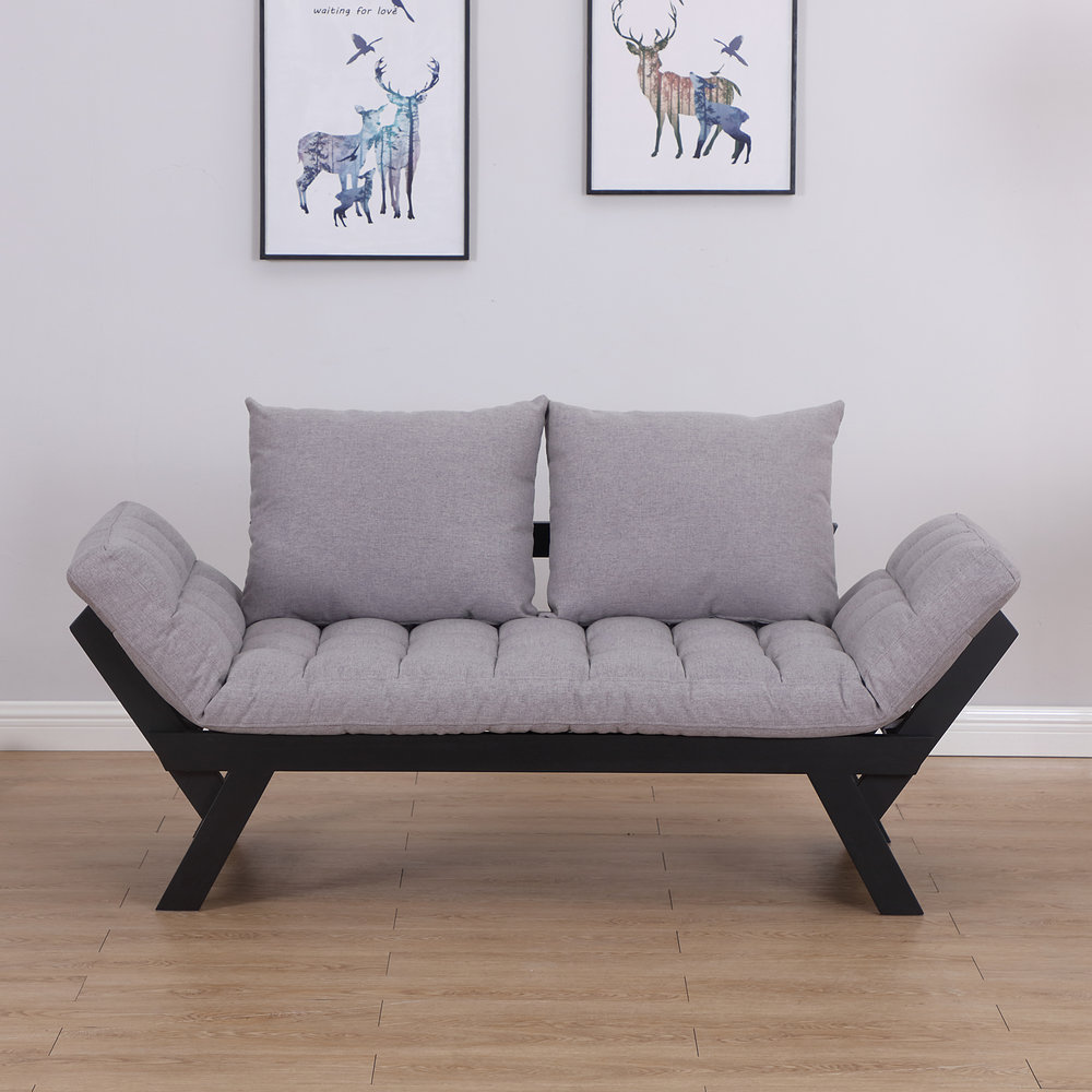 Picture of: Homcom Sofa Bed Chaise Lounge Linen Grey Mh Star