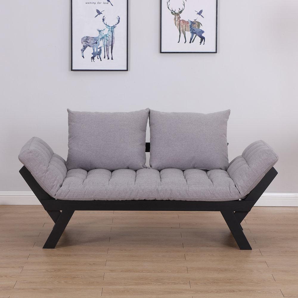 Homcom Sofa Bed Chaise Lounge Linen Grey Mh Star