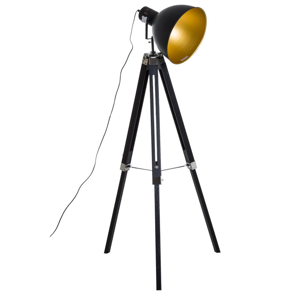 Homcom Retro Tripod Floor Lamp Black Gold Mh Star