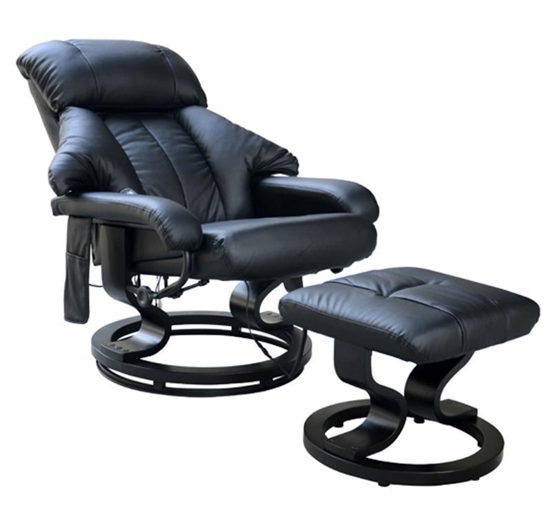 HOMCOM Recliner Massage Chair W/Foot Stool Black