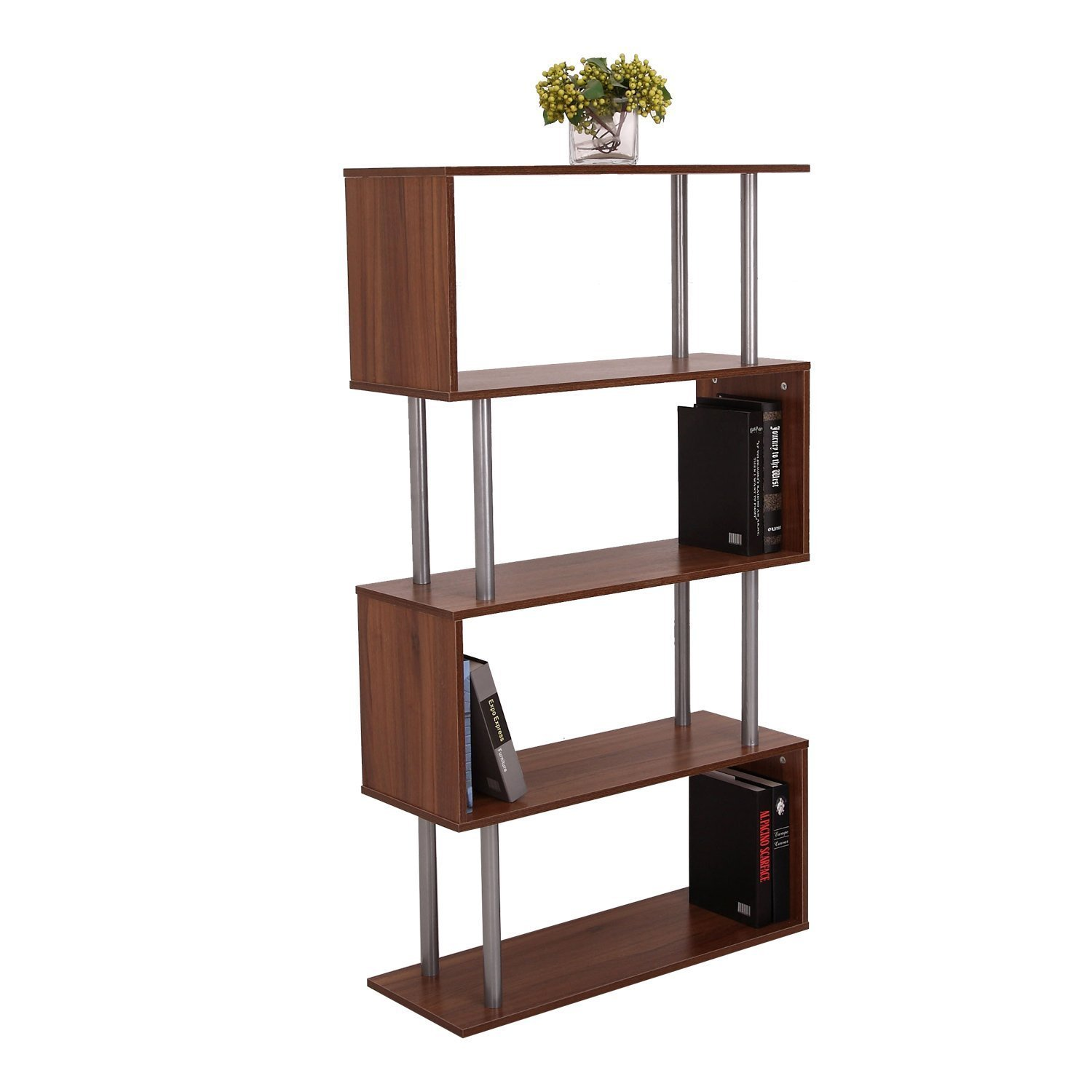 Homcom Wooden S Shape Bookcase Walnut Mh Star