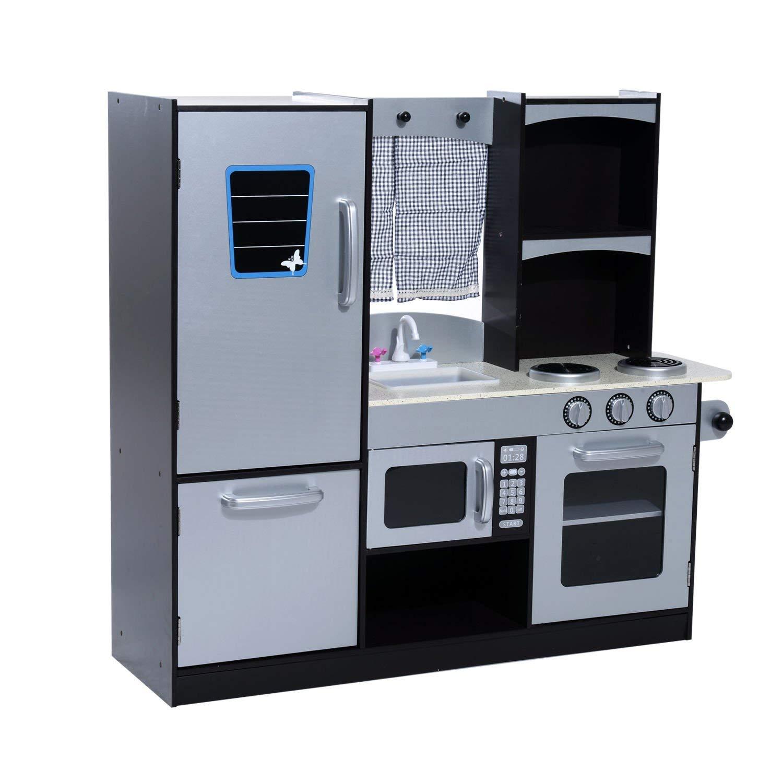 551dce2ad799 HOMCOM Kids Wooden Play Kitchen Set-Black/Grey — MH Star