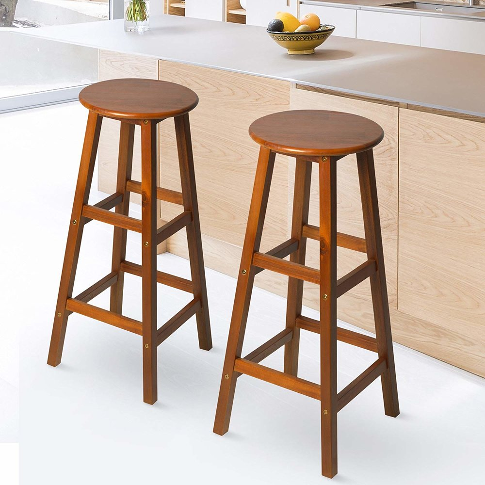 Homcom 2 pcs bar stools chairs acacia wood teak colour mh star