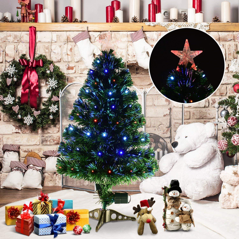 b60443fa8fe2 HOMCOM 3ft 90cm Green Fibre Optic Artificial Christmas Tree-Multi colour  LED Lights — MH Star