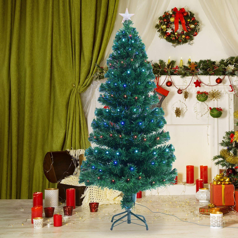 2ddcfe57effd HOMCOM 4ft 120cm Green Fibre Optic Artificial Christmas Tree-Multi colour  LED Lights — MH Star
