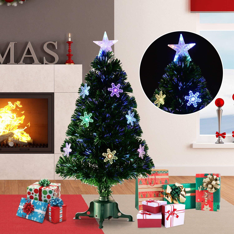 1e0da9ff48a8 HOMCOM 3ft 90cm Green Fibre Optic Artificial Christmas Tree W/ Showflakes  Lights — MH Star