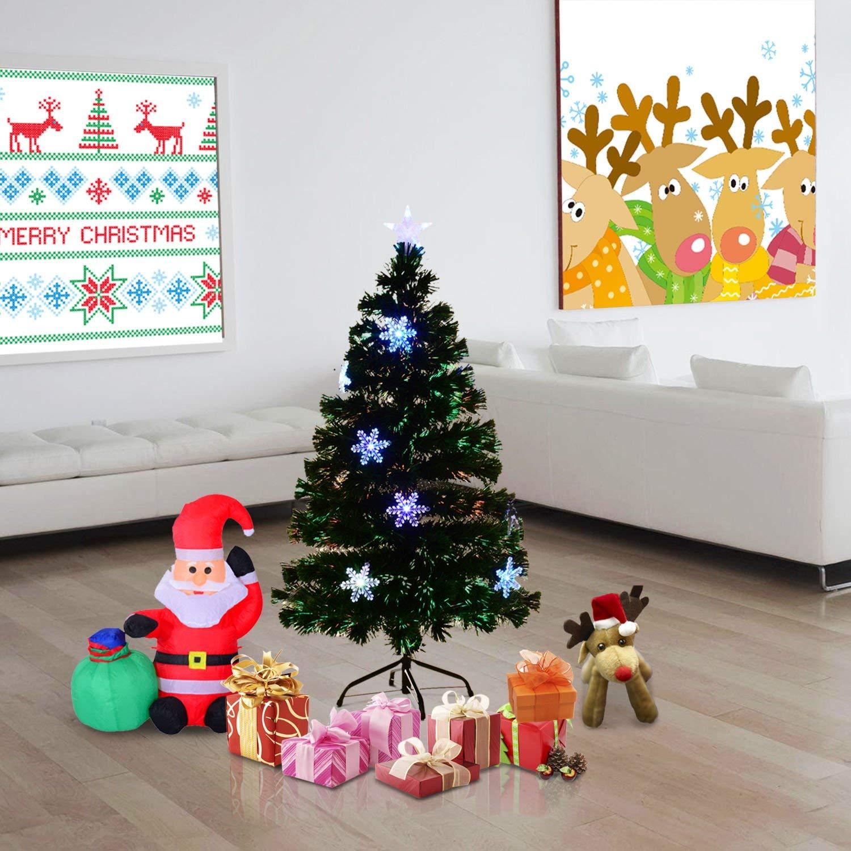 61553c00e0e1 HOMCOM 4ft 120cm Green Artificial Christmas Tree W/ Showflakes Lights — MH  Star