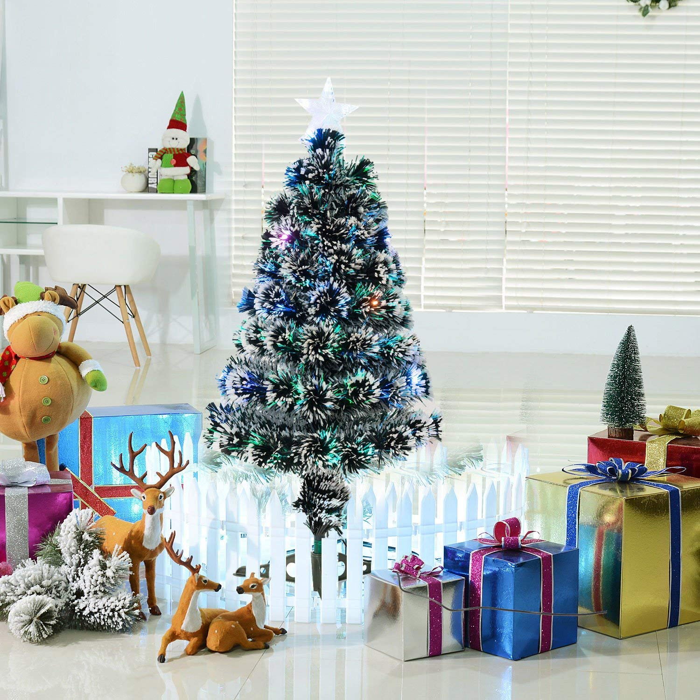 Homcom 3ft 90cm Green White Artificial Christmas Tree W Prelit Led Lights Multicolor