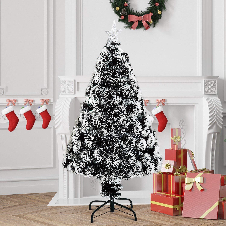 b57d467eba94 HOMCOM 4ft 120cm Green/White Artificial Christmas Tree W/ Prelit LED  Lights-Multicolor — MH Star