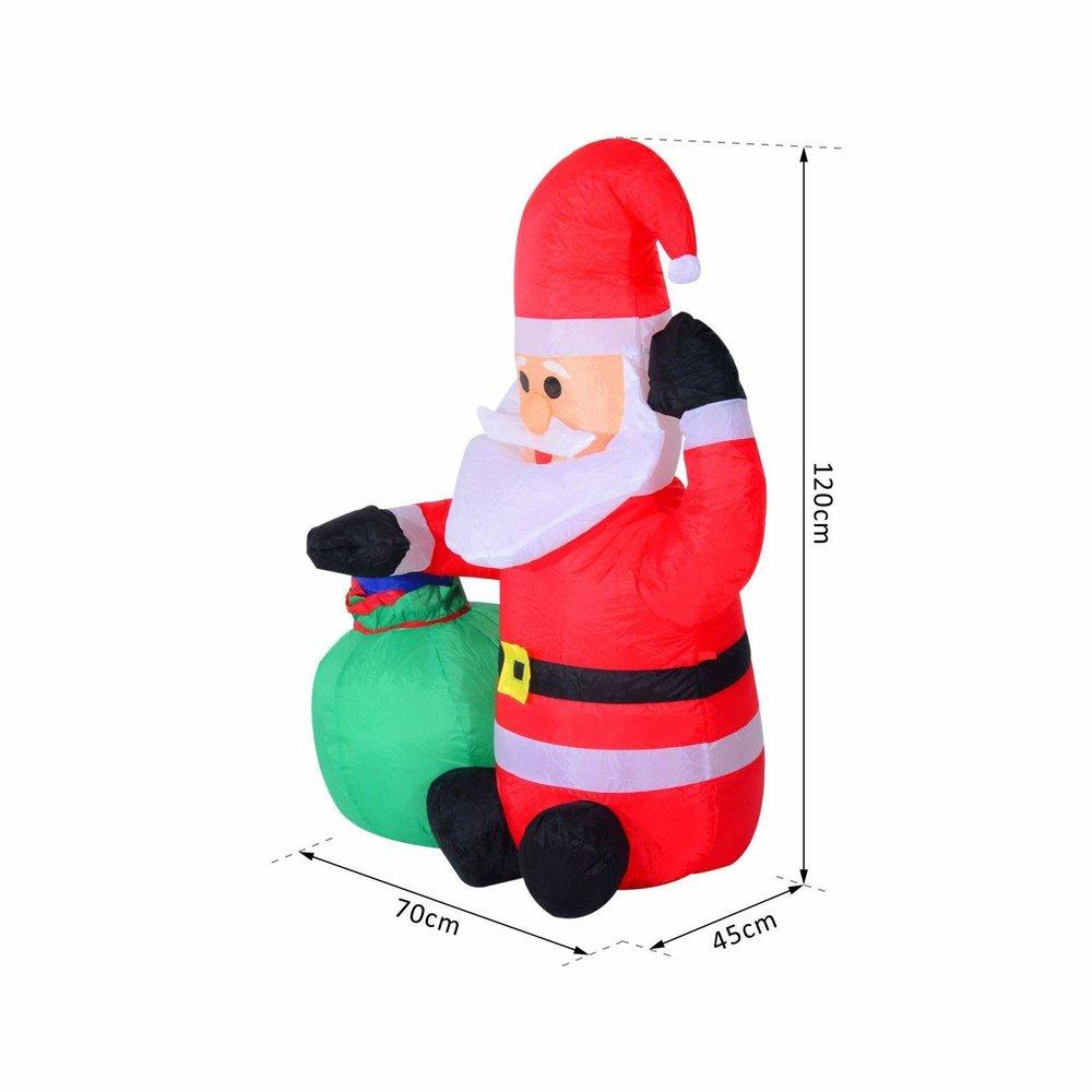 HOMCOM Inflatable Blow up Christmas Santa Claus 120cm LED — MH Star