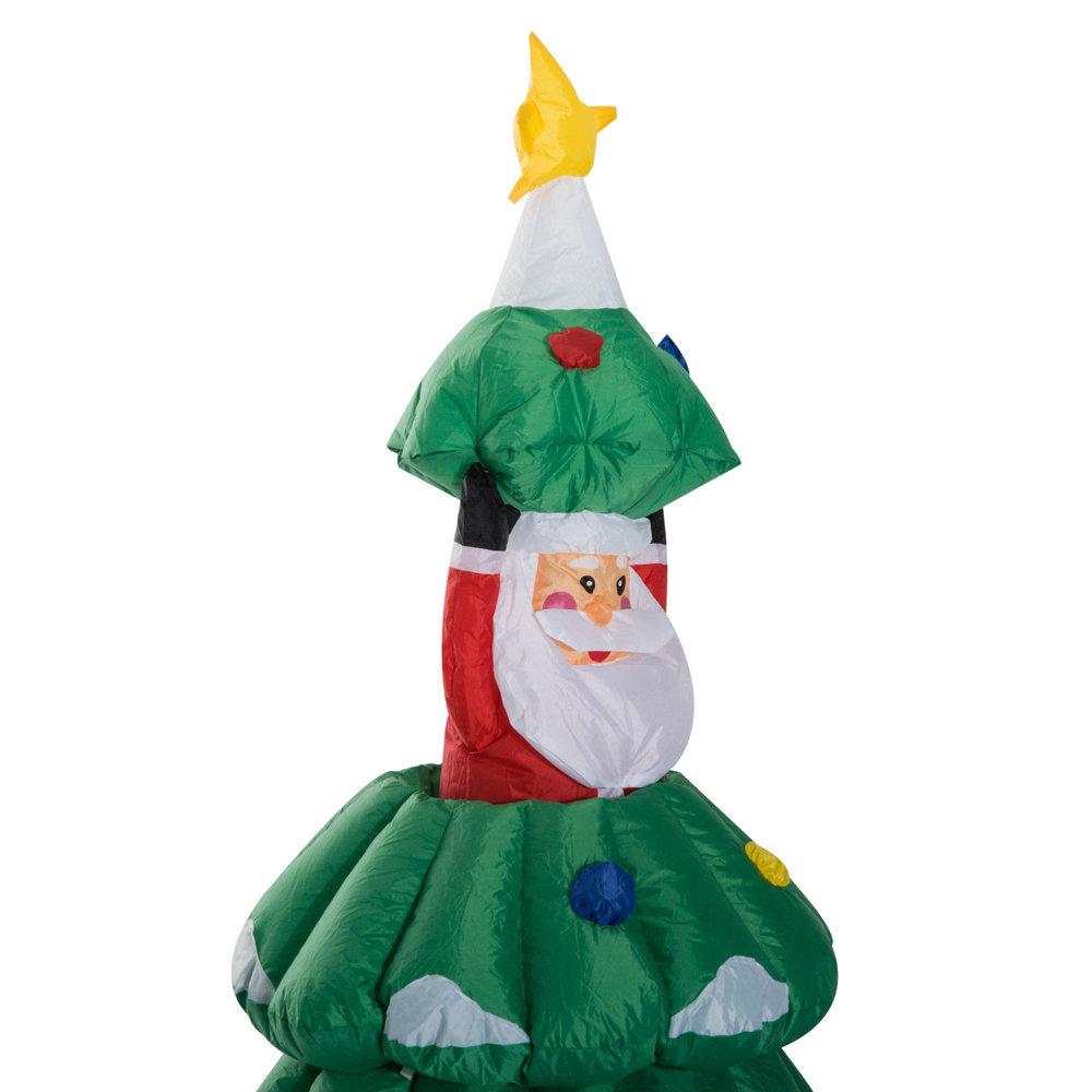 HOMCOM Large Christmas Inflatable Lighted Tree W/Hidden Santa Claus ...