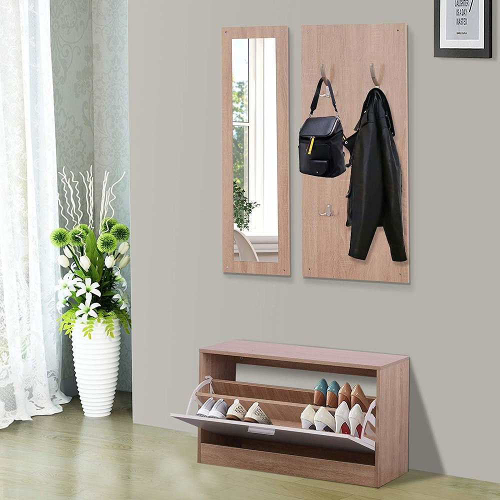Homcom 3 in 1 hallway furniture set coat rack mirror shoes cabinet storage organiser wood white mh star