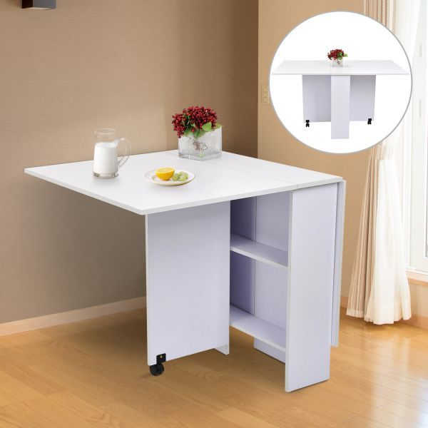 Homcom Mobile Drop Leaf Dining Table W 2 Wheels Storage Shelves