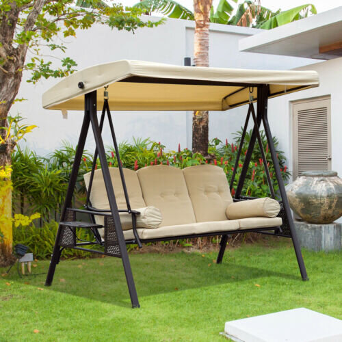 Heavy Duty Counter Stools, Outsunny Swing Chair Hammock 3 Seater Canopy Cushion Shelter Outdoor Bench Steel Beige Garden Mh Star