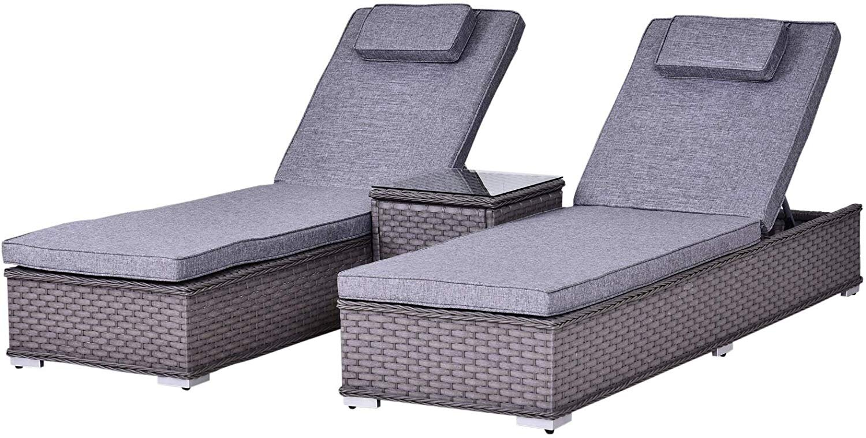 Outsunny PE Rattan 11-Seater Outdoor Garden Sun Lounger Set w/ Side Table  Grey — MH Star